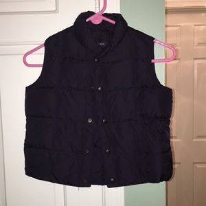 Navy goose down and feather vest Lands End! EUC!